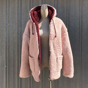 Reversible Sherpa hoodie sweater